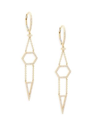 Saks Fifth Avenue 14K Yellow Gold & Diamond Drop Earrings