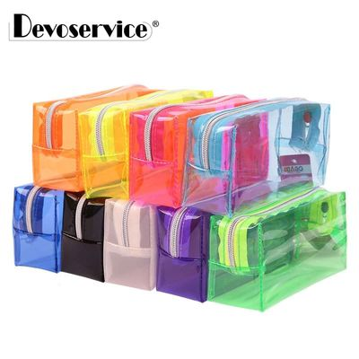 1Pcs Transparent Plastic Box School Lovely Pencil Case Pen Holder Bag Pouch Painting Brush Pens Storage Case New Gift Stationery
