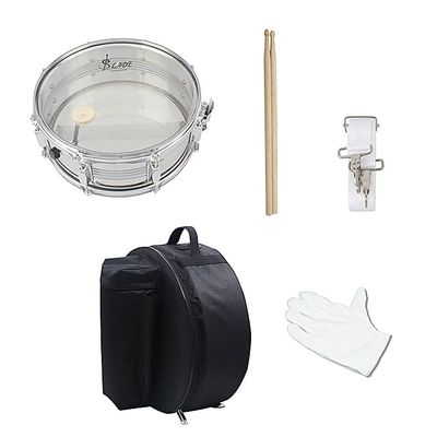 14in Snare Drum Stainless Steel Drum Body Transparent PVC