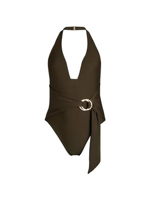Jonathan Simkhai Wrapped Halter One-Piece Swimsuit