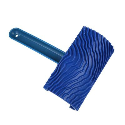 Blue Rubber Wood Grain Paint Roller DIY Graining Painting Tool Wood Grain Pattern Wall Painting Roller with Handle Home Tool hot