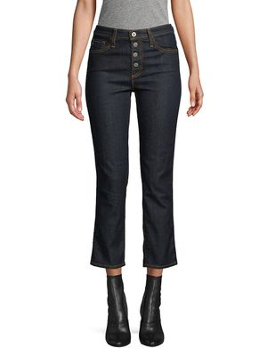 AG Jeans High-Rise Button Crop Jeans