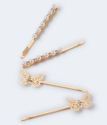 Aeropostale Butterfly & Faux Pearl Hair Slide 4-Pack