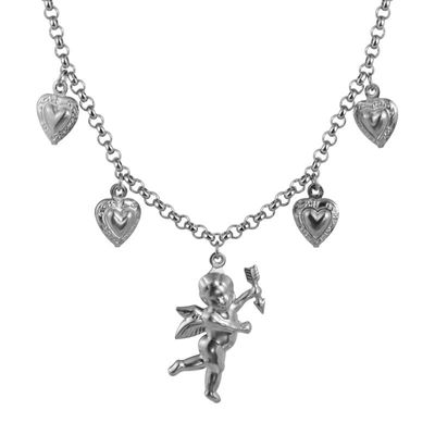 ZHUYOU New Fashion Titanium Steel Stainless Steel Love Angel Wing Love Heart Bell Clavicle Chain Necklace