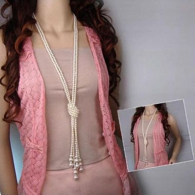 New Fashion Long Knotted Sweater Necklaces Multilayer Imitation Pearl Necklace For Women Wedding Bride Necklace