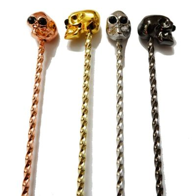 Skull Barspoon Cocktail Spoon Stainless Steel Mixing Cocktail Spoon, Spiral Pattern Bar Tool