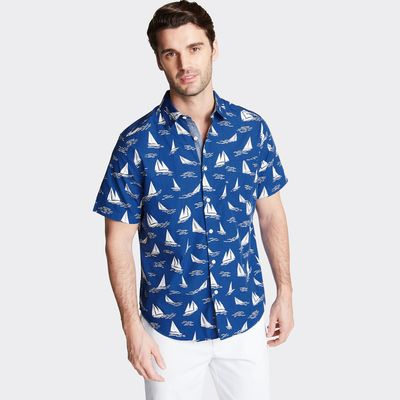 Nautica Classic Fit Short Sleeve Poplin Shirt In Print