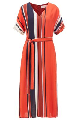 HUGO BOSS - Belted Dress With Block Stripes In Italian Crepe