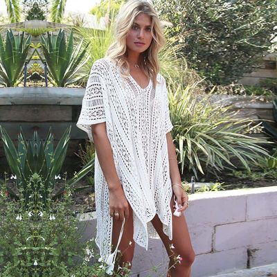 Wool knit openwork blouse large size loose vacation bikini beach coat sunscreen clothing outside a thin loose white blouse
