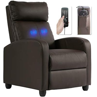 Recliner Chair for Living Room Massage Recliner Sofa Single Sofa Home Theater Seating Reading Chair Wingback Modern Reclining Chair Easy Lounge with PU Leather Padded Seat Backrest in Brown
