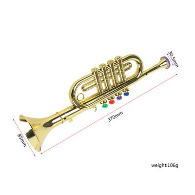 Gold 14-1/2 Inch Trumpet with 4 Colored Keys, Musical Wind Instrument Music Toys for Kids, Learning & Entertainment