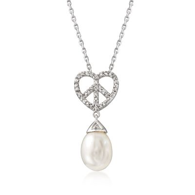 Ross-Simons 8mm Cultured Pearl and . Diamond Heart Peace Sign Pendant Necklace in Sterling Silver