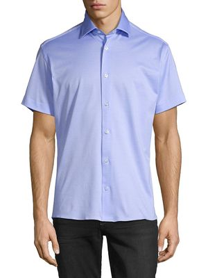 Bertigo Solid Cotton Short-Sleeve Shirt