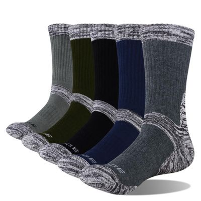 YUEDGE Men's Wick Thick Cushion Cotton Crew Sports Athletic Hiking Socks Winter Warm Socks For Men(5 Pair/Packs)