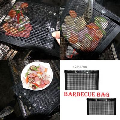 BBQ Grill Mesh Bag Non Stick Heat Resistance Reusable Barbecue Grilling Web Mat Camping Hiking Cooking Tools