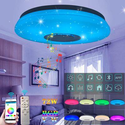 LED Wireless Bluetooth Speaker Loundspeaker Player RGB Dimmable Ceiling Light Panel Lamp with APP + Remote Control For Bedroom