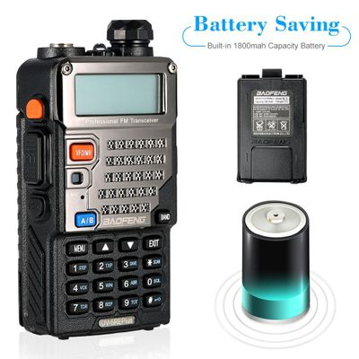 128CH Dual Band Talkie Walkie Transceiver Two Way Radio Portable Handheld Waterproof Interphone Long Distance 1800mah Battery
