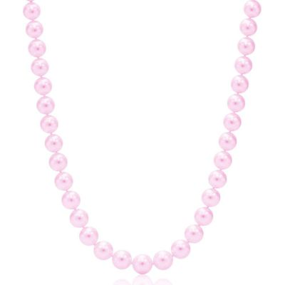 Suzy Levian 14k White Gold Purple Freshwater Pearl 22 In Necklace (8mm)