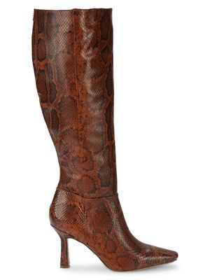 Sam Edelman Davin Snakeskin-Embossed Leather Knee-High Heeled Boots