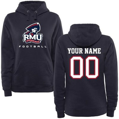 Robert Morris Colonials Women's Personalized Football Pullover Hoodie - Navy