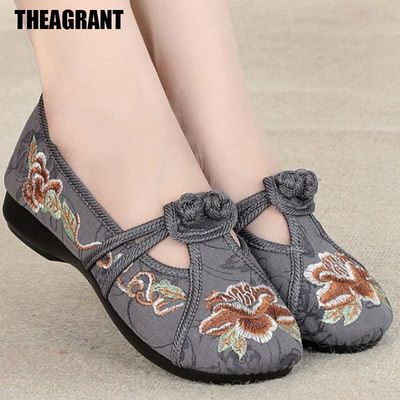 THEAGRANT Traditional Style Women Flats Soft Loafers 2020 Spring Autumn Shoes Women Embroidered Slip On Chinese Shoes WFS2003