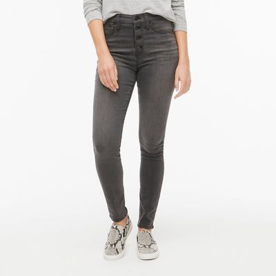 J.Crew Factory Petite 10in Highest-rise Skinny Jean With Button Fly In Asphalt Wash