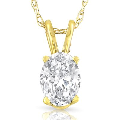 1/2Ct Certified Lab Grown Oval Diamond Solitaire Pendant Yellow Gold Necklace