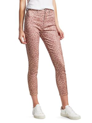 7 For All Mankind High-Rise Leopard Ankle Skinny Jeans