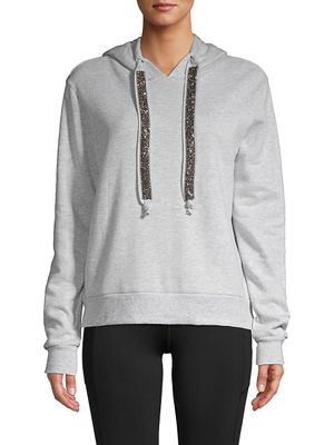 Betsey Johnson Performance Embellished Cotton-Blend Hoodie