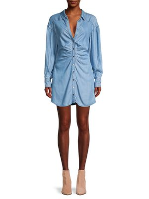 Free People Charlie Ruched Chambray Shirtdress