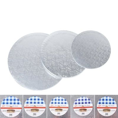 Round Silver Anti-skid Cake Circle Cardboard Cake drums - 1 Piece Cake Base Plate board Turntable for Presenting Decorated Cakes