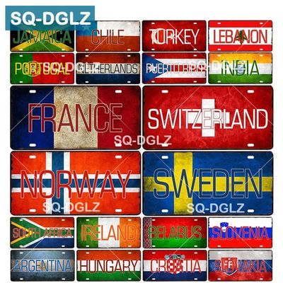 [SQ-DGLZ] Custom National Flag License Plate Bar Wall Decoration Tin Sign Country Metal Sign Home Decor Painting Plaques Poster