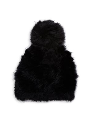 MARCUS ADLER Fox Fur Pom-Pom and Rabbit Fur Hat