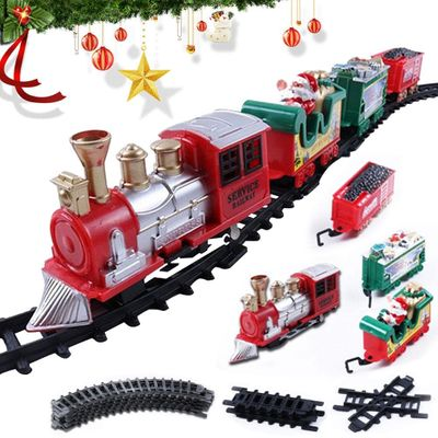 Electric Durable Model Train Toy Christmas Train Gameplay Train with Long Track with Light & Music for Children Gifts