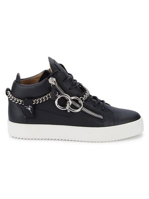 Giuseppe Zanotti Chained Leather Mid Top Sneakers