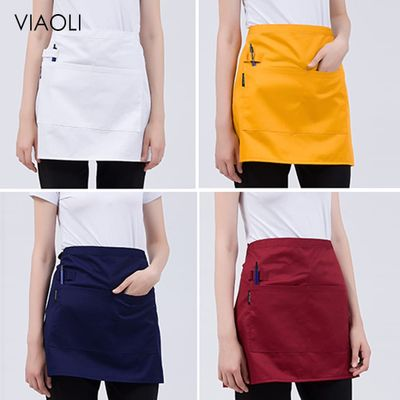 Solid Color Aprons for Women Men Wholesale Kitchen Hotel Coffee Shop Bakery Chef Waiter Cleaning Cook Workwear Apron with Pocket
