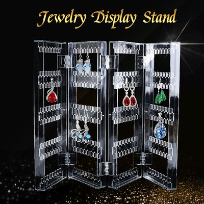 Foldable 4 Doors Acrylic Earrings Holder for Women - Beautify Jewelry Hanger Organizer - Earring, Necklace & Bracelet Holder Display Stand Rack,Clear