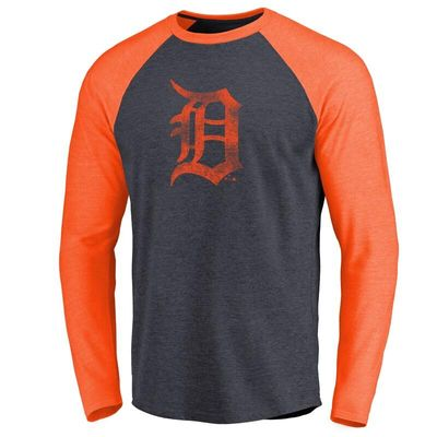 Detroit Tigers Distressed Team Raglan Tri-Blend Long Sleeve T-Shirt - Navy