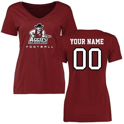 New Mexico State Aggies Women's Personalized Football T-Shirt - Maroon