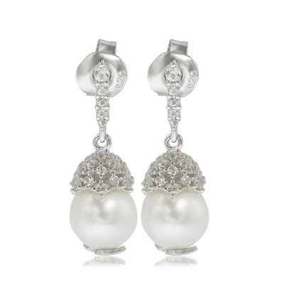 Suzy Levian Sterling Silver Pearl & White Sapphire Crown Earrings