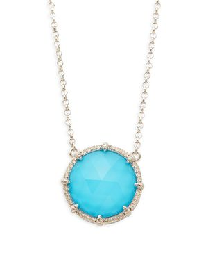 Judith Ripka Sterling Silver Turquoise & White topaz Circle Pendant Necklace