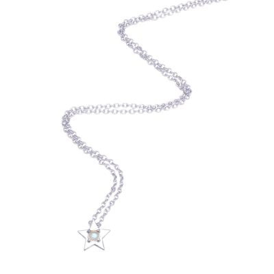 Adornia Star Necklace with Moonstone Centerpiece silver gold