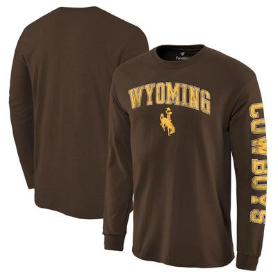 Wyoming Cowboys Fanatics Branded Distressed Arch Over Logo Long Sleeve Hit T-Shirt - Brown
