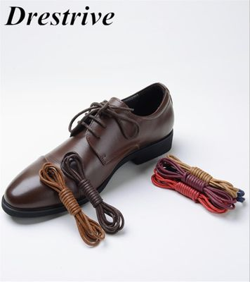 1Pair High Quality Waxed Round Shoe Laces Shoestring for Martin Boots Men Leather Shoes Casual Cotton Shoelaces Black