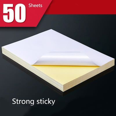 50 Sheets of A4 White Inkjet Laser Printer Paper Craft Copier Stickers Surface Matte Paper Thickening Printable Wood Pulp Paper