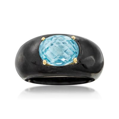 Ross-Simons Black Jade and Blue Topaz Ring With 14kt Yellow Gold