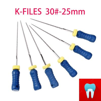 6pcs/pack 30#-25mm Dental K Files Root Canal Endo Files Dentist Tools Hand Files Stainless Steel K Files Dentistry Lab Tools