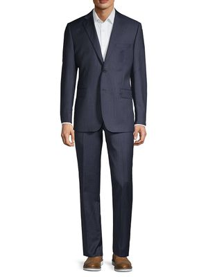 Saks Fifth Avenue Made in Italy Slim-Fit Checkered Wool & Silk-Blend Suit
