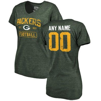 Green Bay Packers NFL Pro Line by Fanatics Branded Women's Distressed Personalized Tri-Blend V-Neck T-Shirt - Green