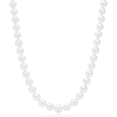 Suzy Levian 14k White Gold White Freshwater Pearl 20 In Necklace (9mm)